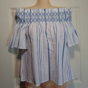 New 1. State Off Shoulder White & Blue Blouse XS